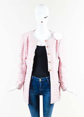 Chanel Pink and White Tweed Camellia Pinned Jacket Frontview