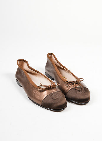 Brown Metallic Leather Chanel 'CC' Cap Toe Bow Ballet Flats Frontview