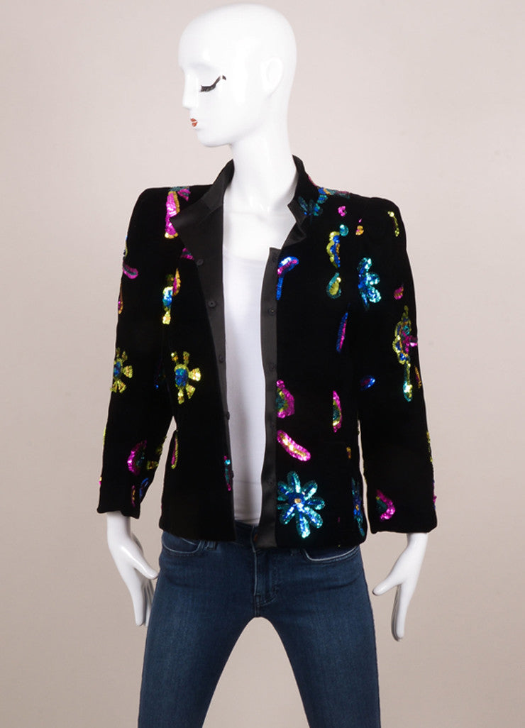 Christian Lacroix Black Velvet Multicolor Sequin Embellished Jacket Frontview
