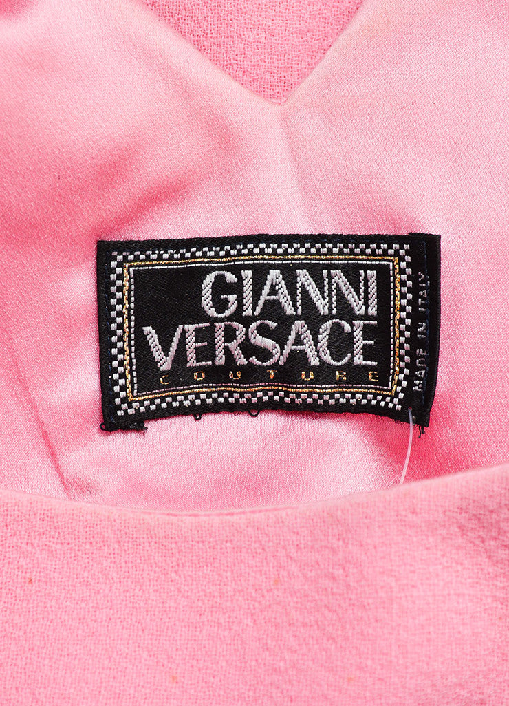 Vintage Light Pink Gianni Versace Crepe Knit Sleeveless A-Line Dress Brand