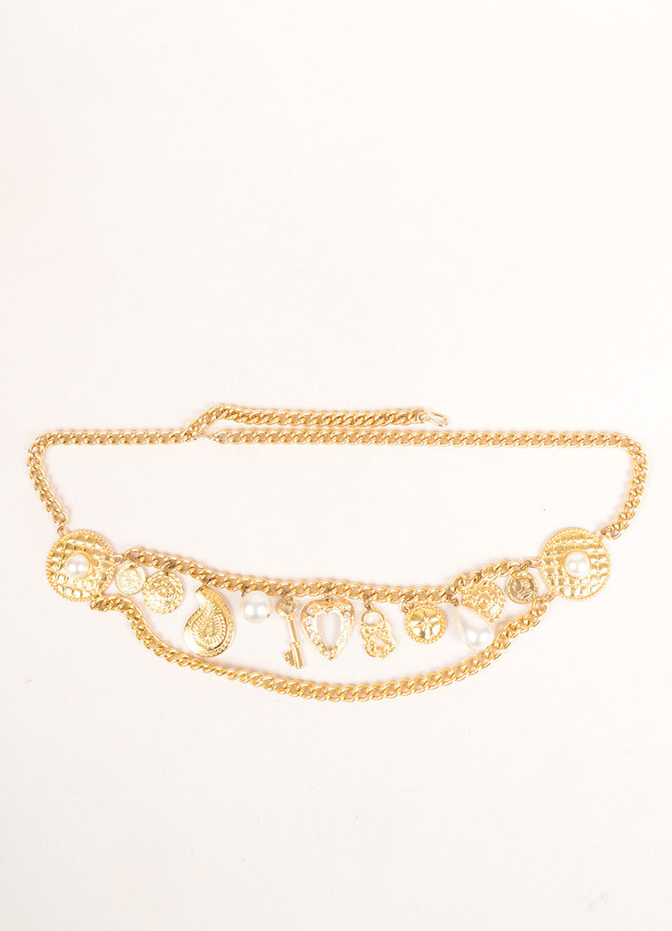 Vintage Gold Toned and Faux Pearl Rhinestone Coin Charm Embellished Chain Belt Frontview
