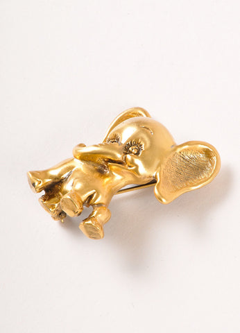 Tortolani Gold Toned Elephant Pin Brooch Sideview