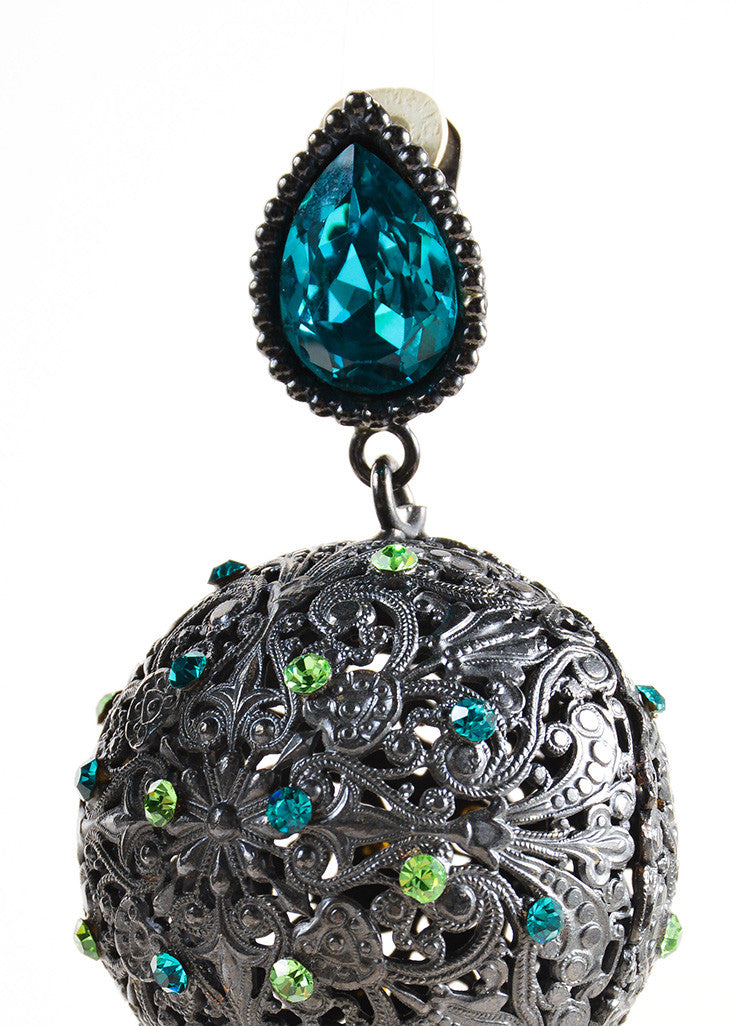Yves Saint Laurent Grey, Blue, and Green Rhinestone Metal Ball Drop Earrings Detail