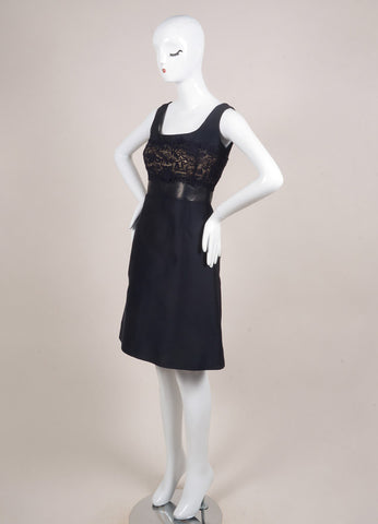 Valentino Navy Cotton and Leather Crochet Sleeveless A-Line Dress Sideview