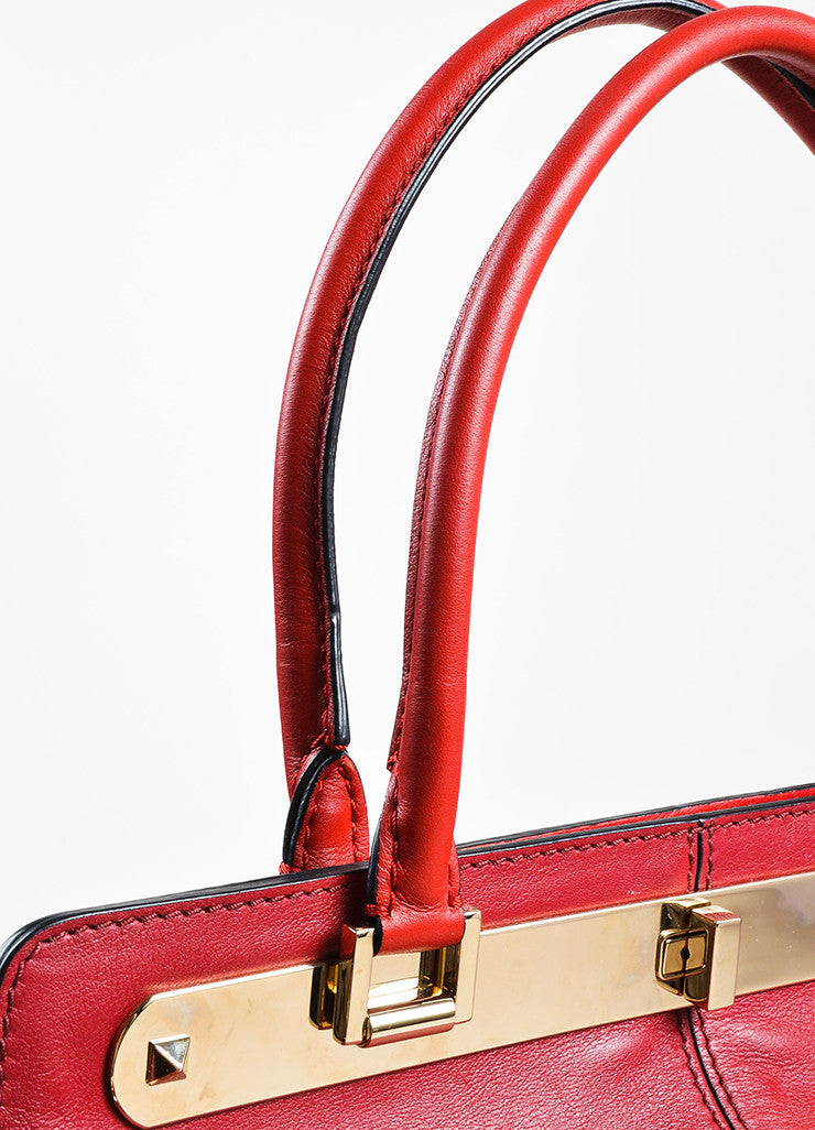 "Valentino Red and Burgundy Leather ""Claret"" Colorblock Tote Bag Detail 4"