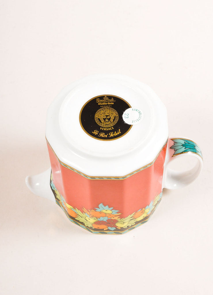 "Versace Rosenthal Red Fruit ""Le Roi Soleil"" Creamer Cup Bottom View"