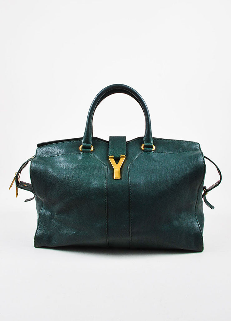 "Yves Saint Laurent Dark Green Gold Hardware ""Medium Cabas Chyc"" Bag frontview"