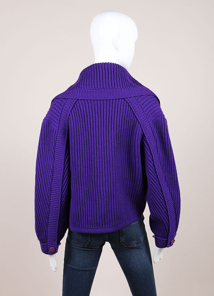 Karl Lagerfeld Purple Wool Shawl Collar Chunky Knit Cropped Sweater Backview