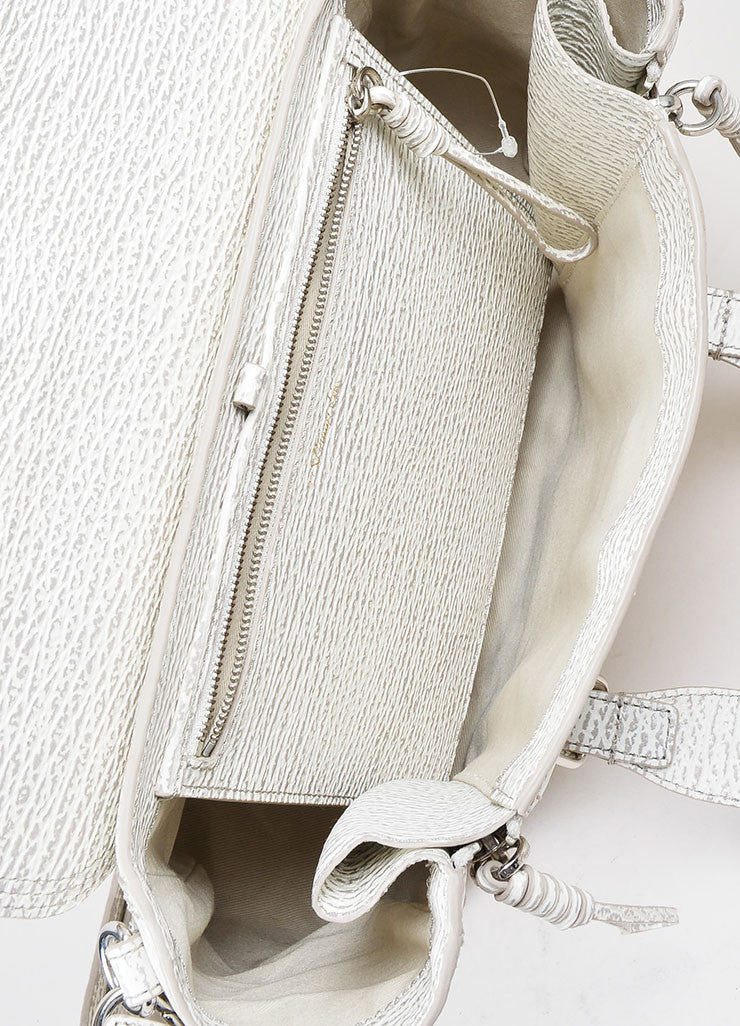 "3.1 Phillip Lim Cream and Grey Textured Leather Medium ""Pashli"" Satchel Bag Interior"