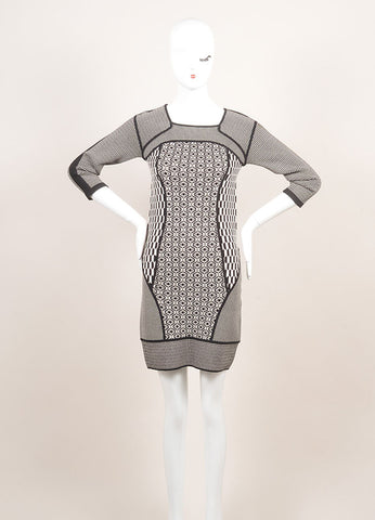 A.L.C. New With Tags Black and White Stretch Knit Multi Pattern Bodycon Dress Frontview