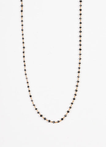 Aaron Basha 18K Rose Gold Black Diamond Beaded Chain Link Necklace Detail