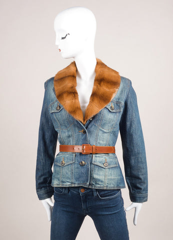 Alexander McQueen Blue and Tan Denim Removable Fur Collar Belted Jacket Frontivew