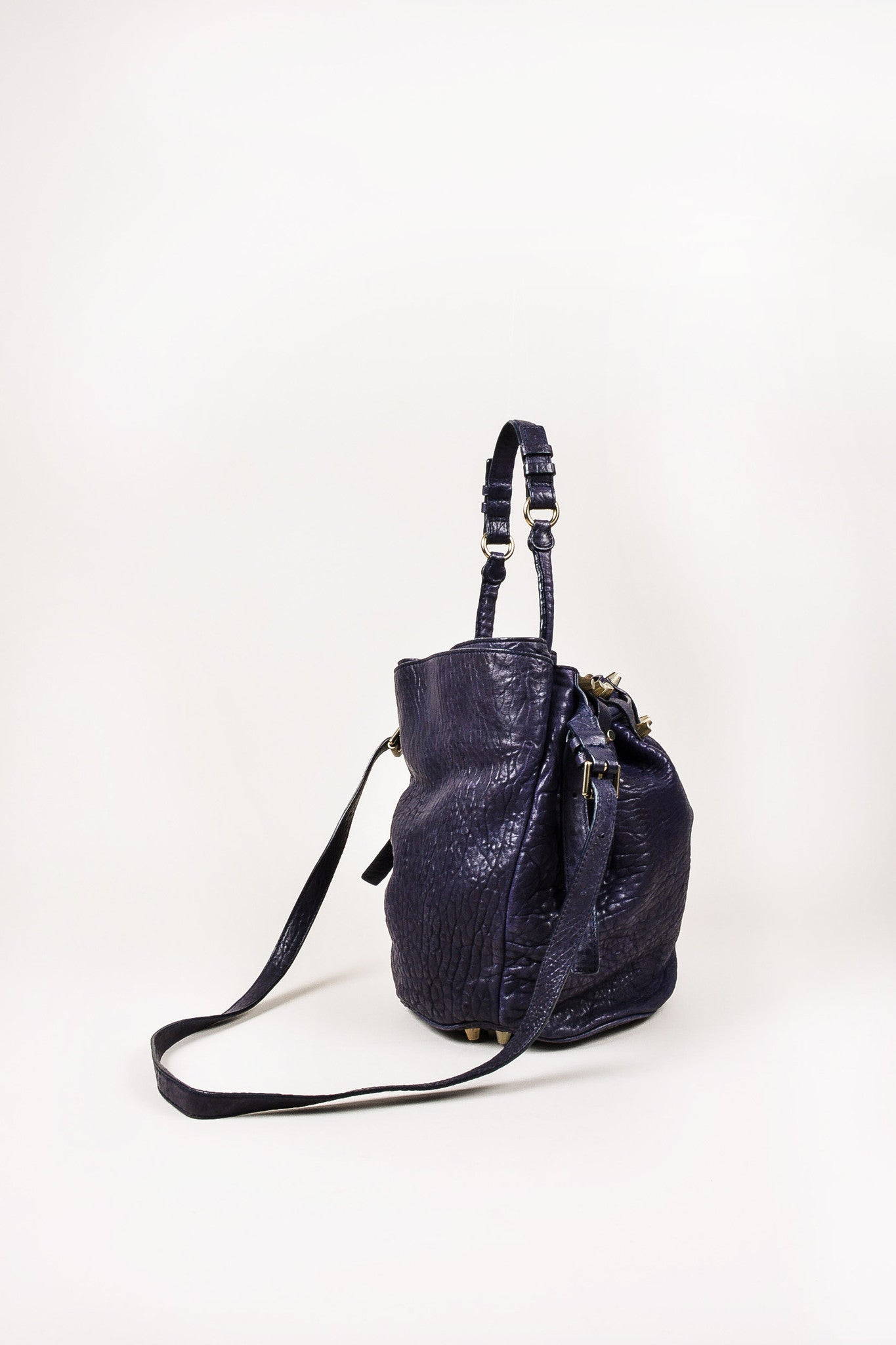"Alexander Wang Dark Purple Pebbled Leather Brass Stud ""Diego"" Bucket Bag Sideview"