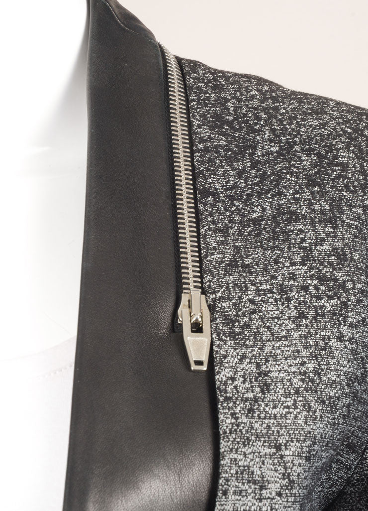 Alexander Wang Grey and Black Cotton and Leather Ombre Blazer Jacket Detail