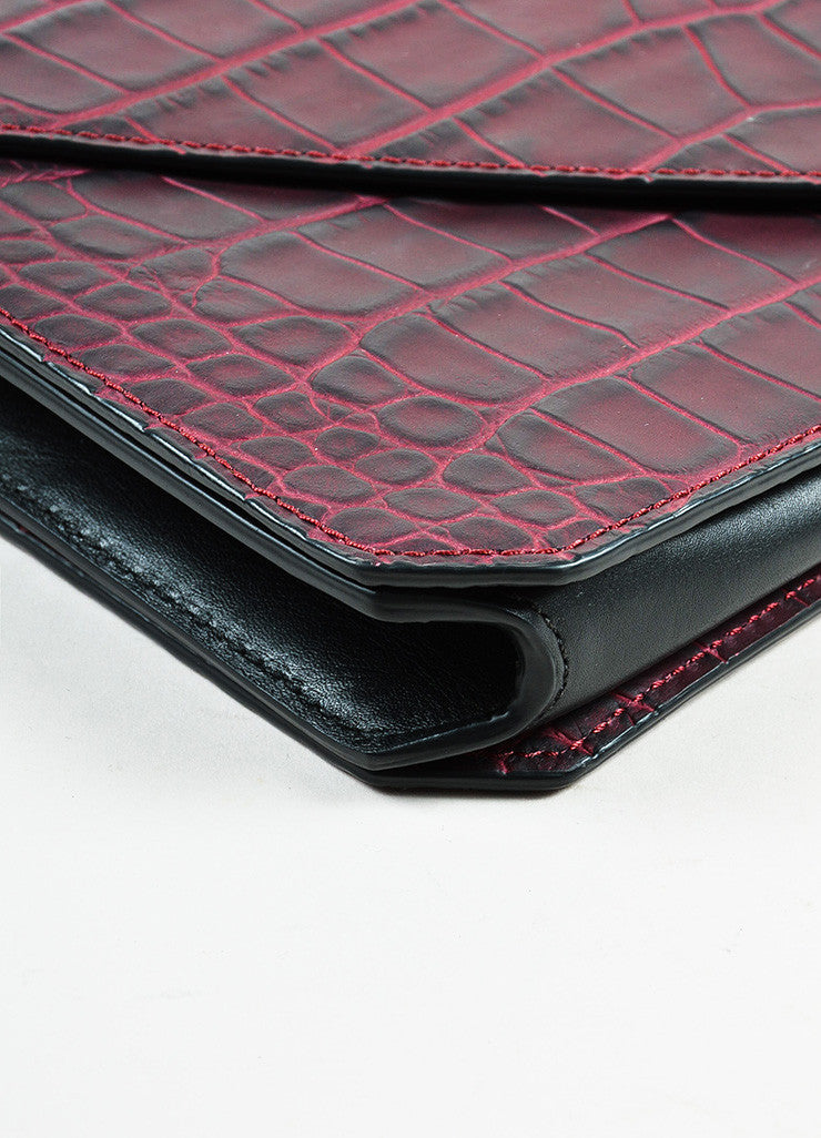 "Alexander Wang Red Leather Crocodile Embossed ""Prisma"" Envelope Clutch Bag Detail"