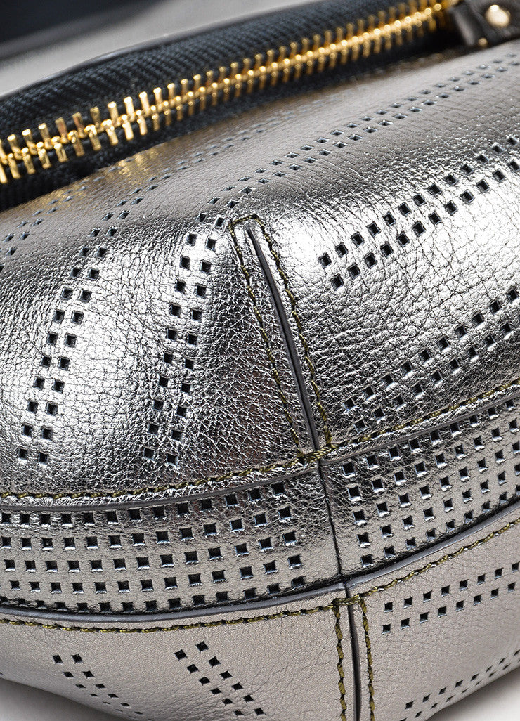 "Gunmetal Leather Perforated Zip Anya Hindmarch ""Capra"" Satchel Bag Detail"