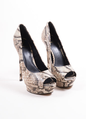 "B Brian Atwood Taupe Leather Snakeskin Print ""Florencia"" Platform Pumps Frontview"