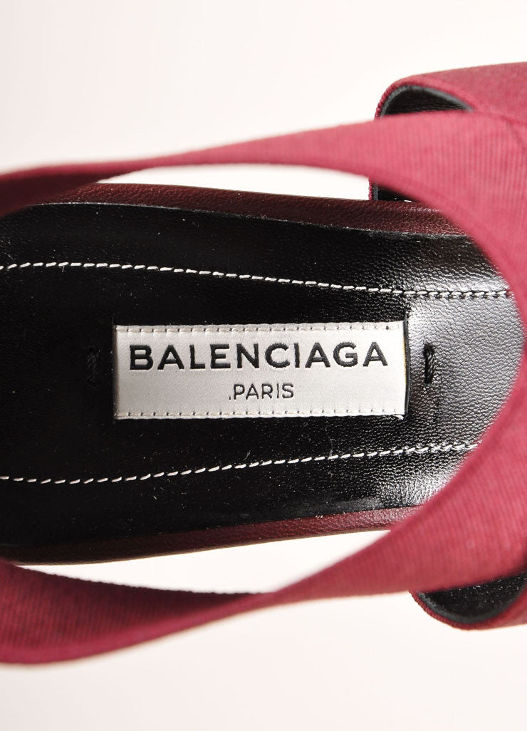 Balenciaga New In Box Maroon Elastic Leather Strappy High Heel Sandals Brand