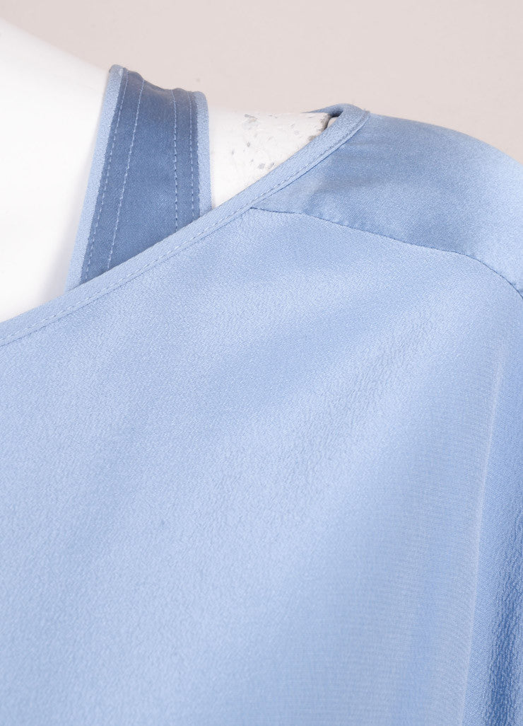 Barbara Bui New With Tags Blue Silk Layered Top Detail