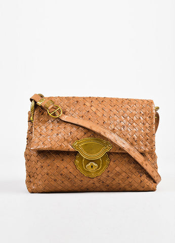 Bottega Veneta Tan Ostrich Leather Intrecciato Woven Flap Shoulder Bag Front