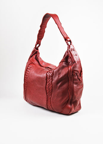 Red Bottega Veneta Leather Woven Trim Oversized Hobo Tote Bag Back