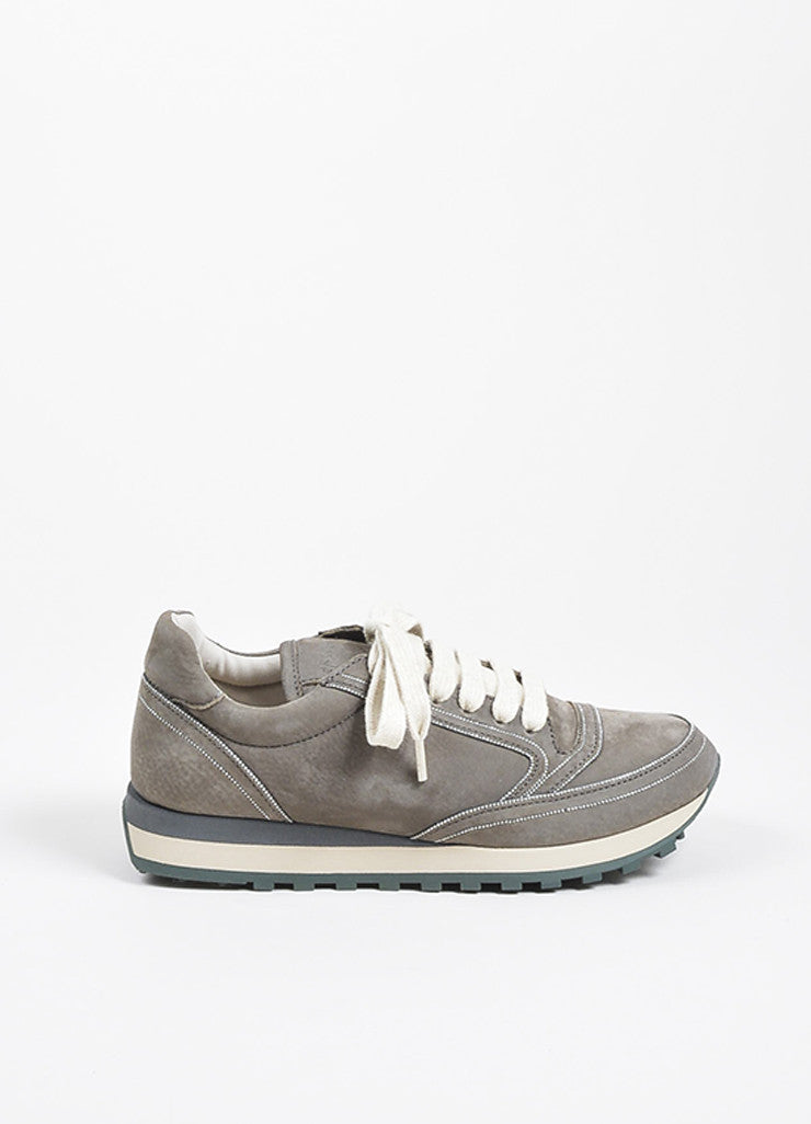 Grey Brunello Cucinelli Suede Chain Trim Lace Up Sneakers Sideview