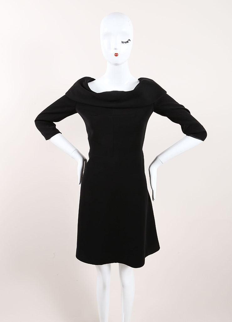 Carven Black Cuffed Off Shoulder Quarter Sleeve Dress Frontview