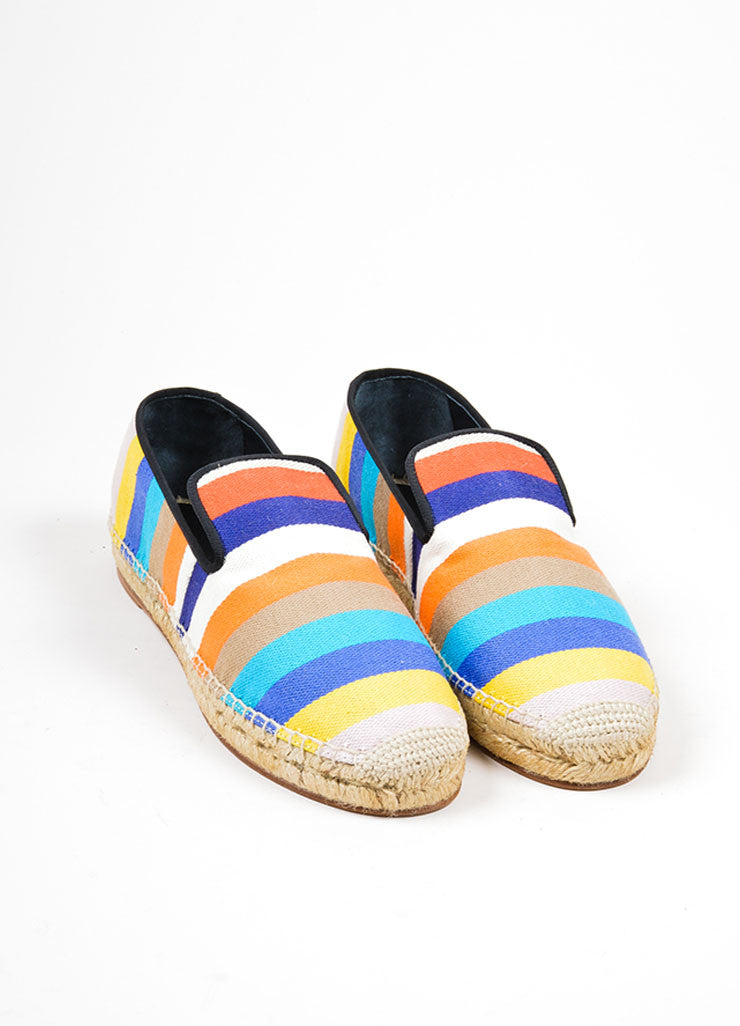 Multicolor Celine Canvas Striped Flat Espadrille Slipper Loafers Frontview