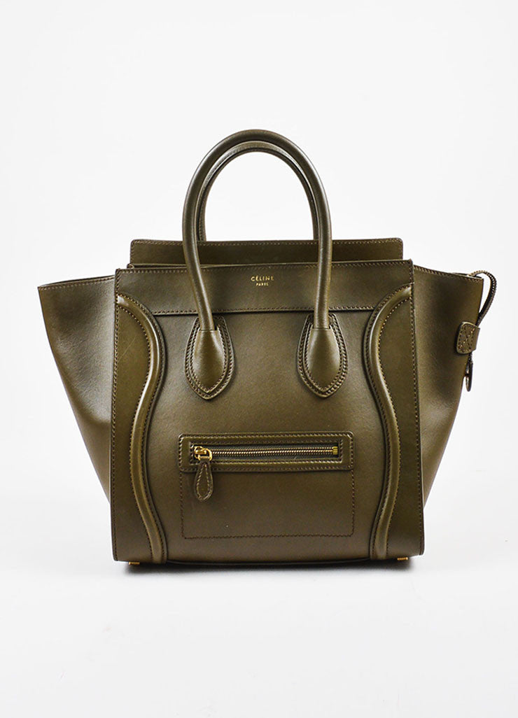 "Celine Olive Green Leather ""Mini Luggage Tote"" Bag Frontview"