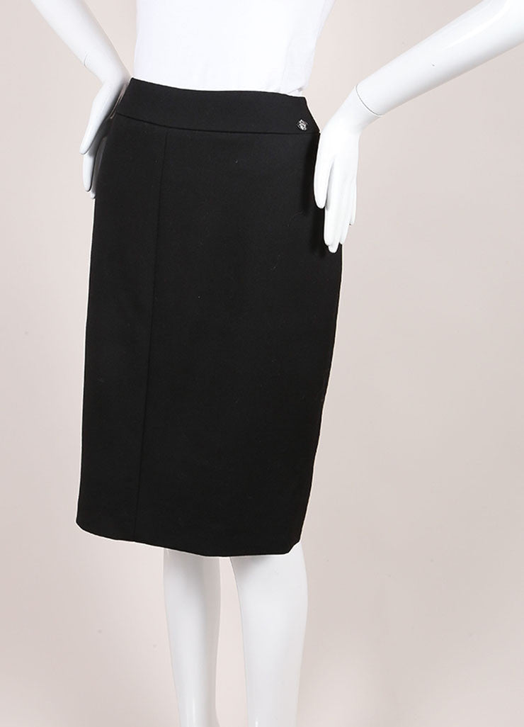 Chanel New With Tags Black Wool Pencil Skirt Sideview