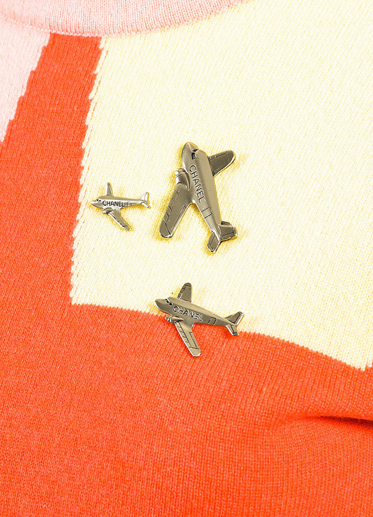 Chanel Blue, Pink, and Yellow Cashmere Colorblock Airplane Pin Sweater Detail