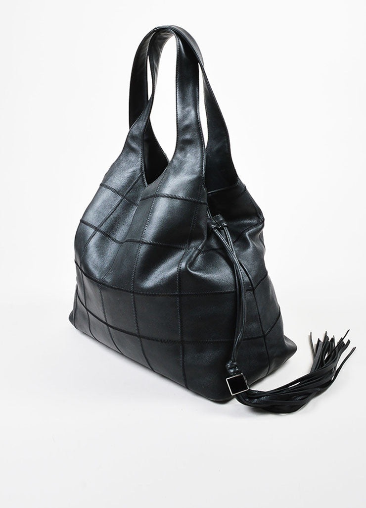 Black Chanel Lambskin Leather Square Stitch Tassel Drawstring Tote Bag Sideview