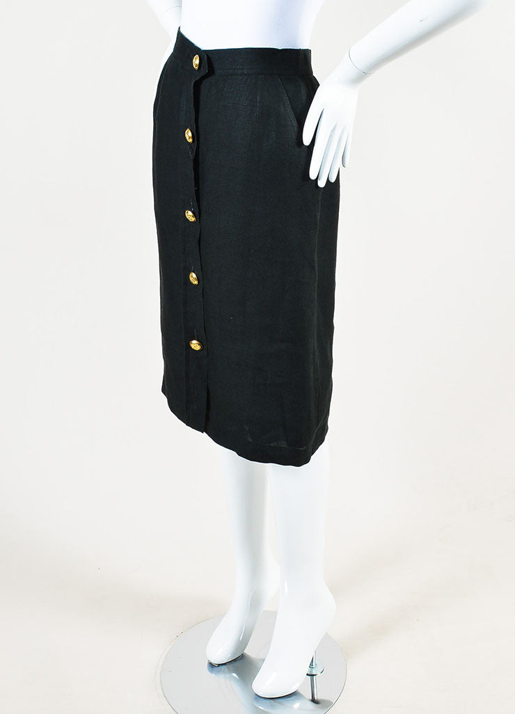 Chanel Black Linen Gold Toned 'CC' Button Down Knee Length Pencil Skirt Sideview