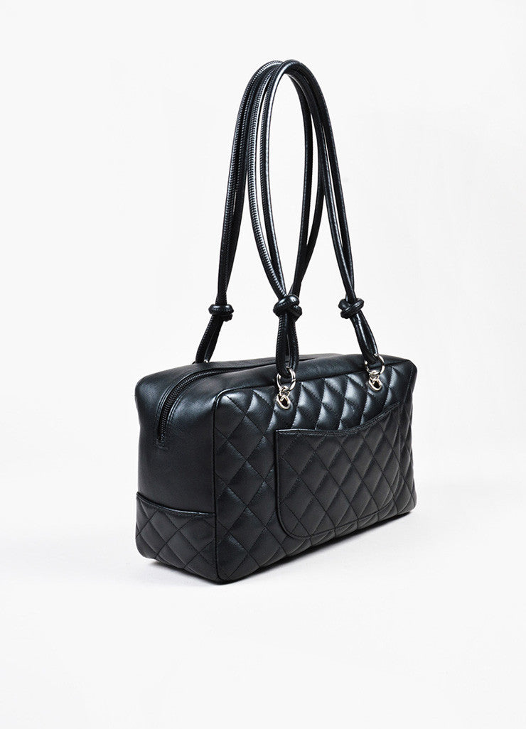 "Black Chanel Quilted Lambskin ""Ligne Cambon Bowler Bag"" Side"
