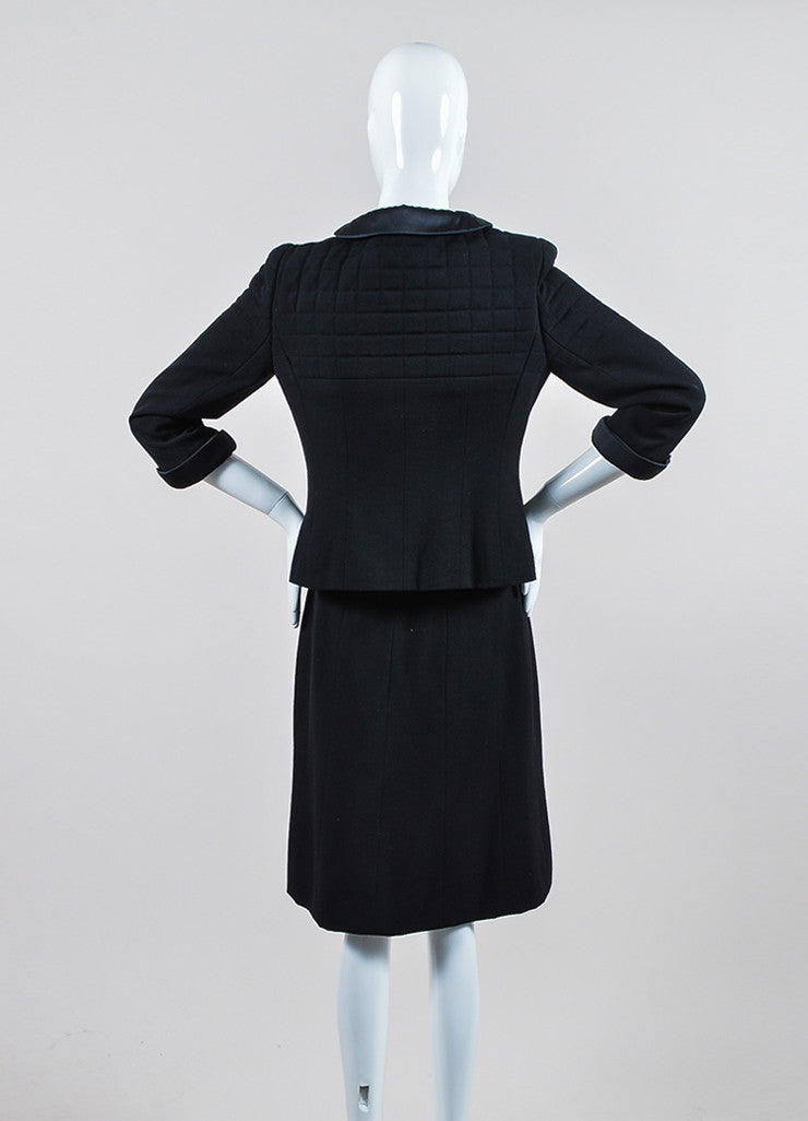 Black Chanel Wool and Silk Jacket and Skirt Suit Backview