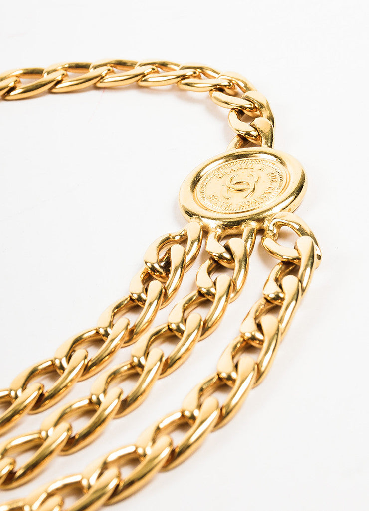 Chanel Gold Toned Triple Strand Chain Link 'CC' Coin Medallions Belt Detail 2
