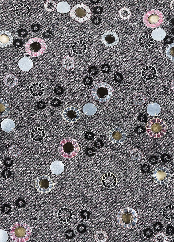 Gray Chanel Pink Sequin Eyelet Spaghetti Strap Top Detail