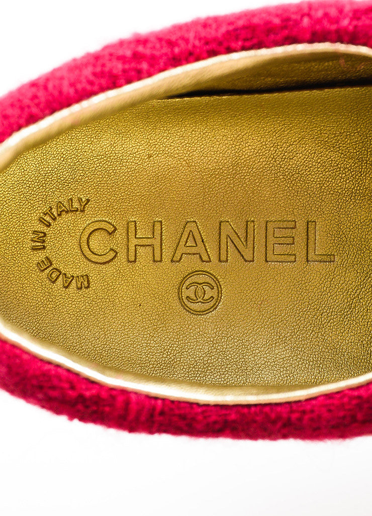 Chanel FW 2014 Blue Metallic Gold Pink Suede Tweed Sneakers Brand