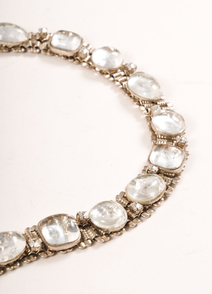 Chanel Silver Toned and Clear Chain Link Cabochon Stone and Rhinestone Belt Detail