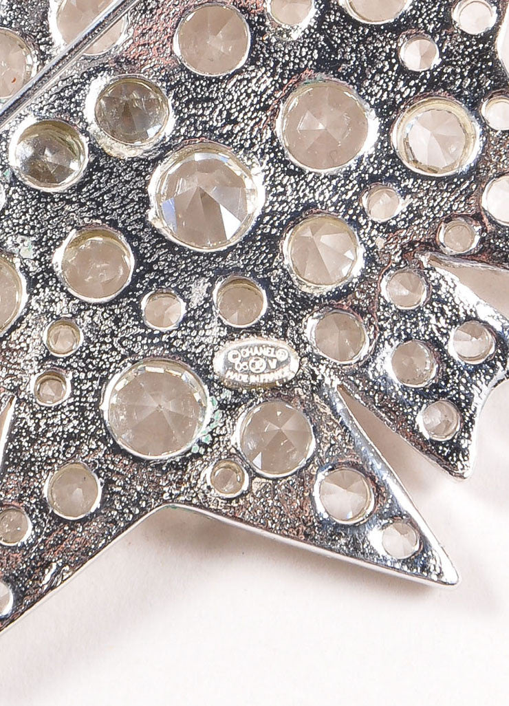 Chanel Silver Toned Clear Crystal Rhinestone Embellished Starburst Pin Brooch Brand