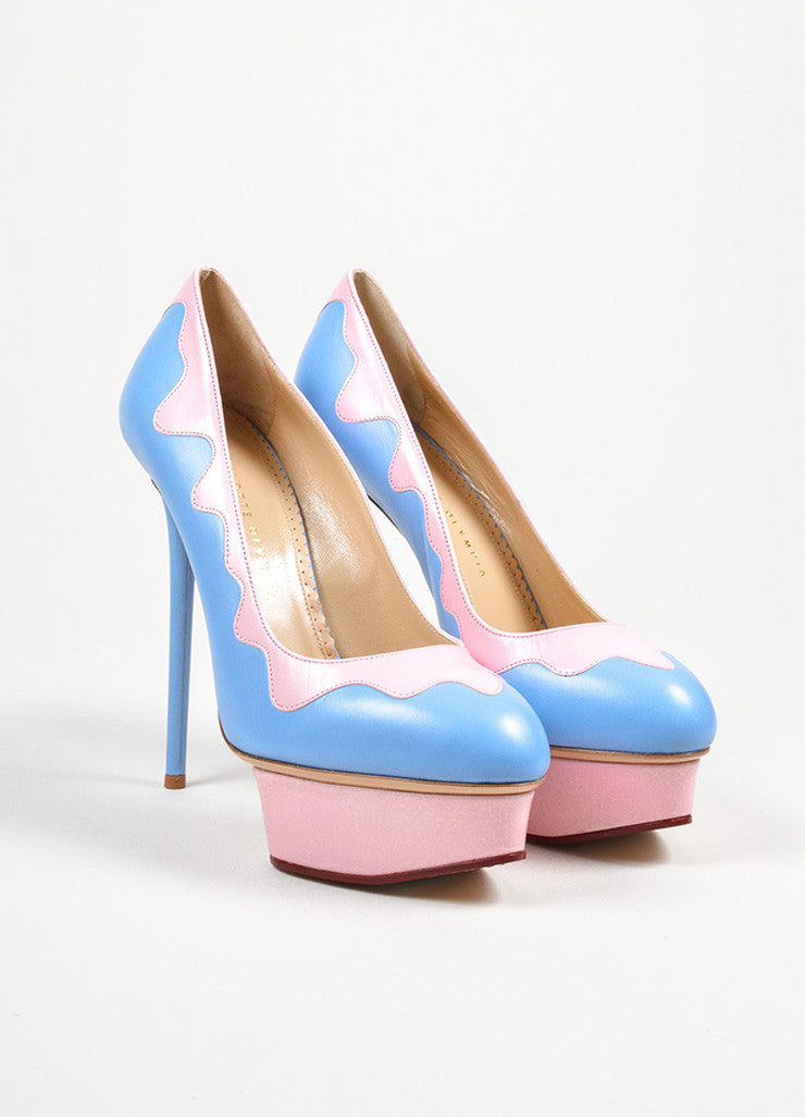 "Sky Blue and Pink Charlotte Olympia ""Josie Sundae"" Platform Stiletto Pumps Frontview"