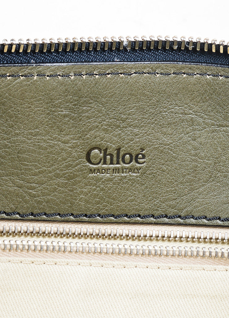 "Olive Green Chloe Leather ""Edith"" Zip Satchel Tote Bag Brand"