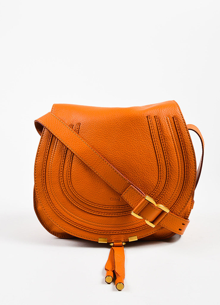 "Orange Chloe Grained Leather Saddle Crossbody ""Marcie"" Bag Front"
