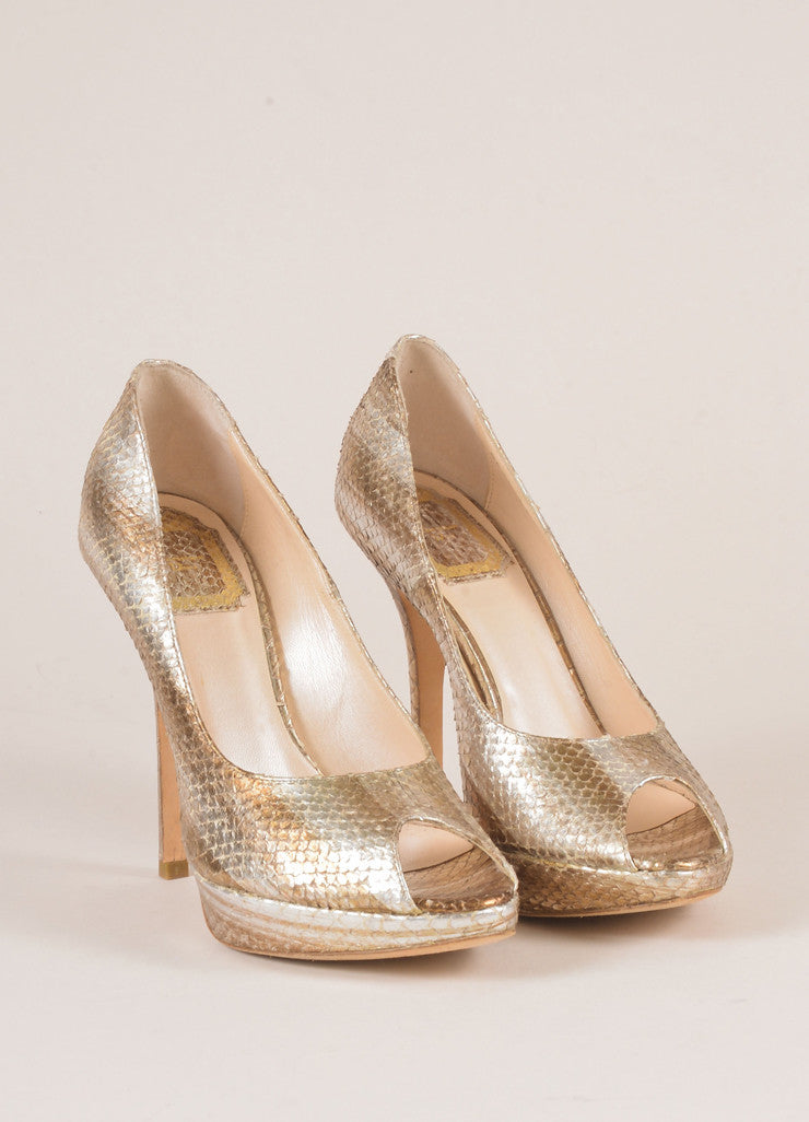 Christian Dior Silver and Gold Metallic Snakeskin Peep Toe Pumps Frontview