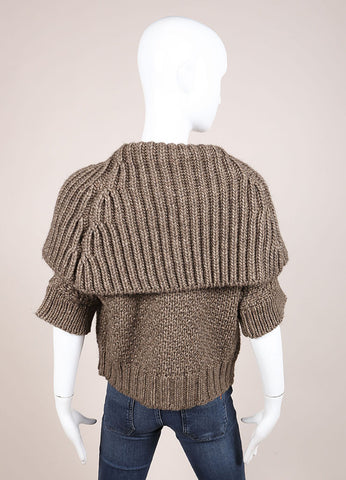 Christian Lacroix Brown Woven Chunky Knit Short Sleeve Sweater Cardigan Backview
