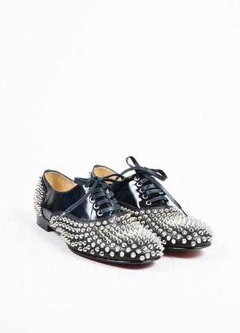 "Christian Louboutin Black Leather Lace Up ""Freddy Spikes"" Oxford Flats Frontview"