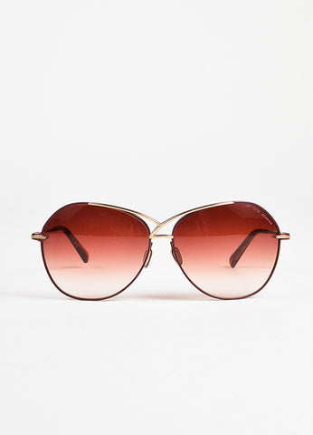 Dita Maroon Gold Toned Matte Coated Oversized Aviator Sunglasses frontview