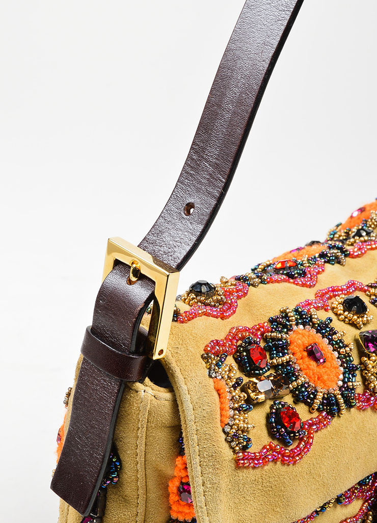 "Tan Fendi Suede, Rhinestone, and Bead Embellished Top Flap ""Baguette"" Shoulder Bag Detail 2"