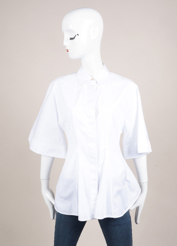 Givenchy White Seamed Bodice Flared Short Sleeve Cotton Blouse Frontview