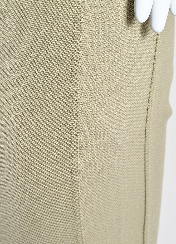 Khaki Beige Givenchy Cotton Nylon Blend Stretch Zip Skinny Moto Leggings Detail